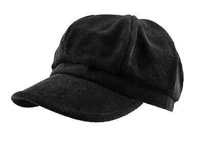 Narrow Corduroy Newsboy Hat Loose Fit Cabbie Gatsby Ivy Cap Black New Corduroy Newsboy Cap