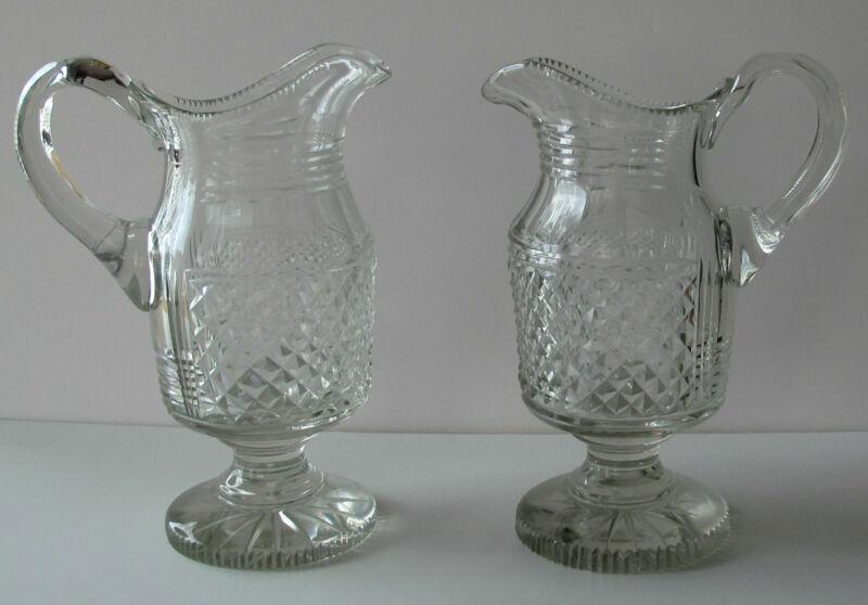 1790 Irish Georgian pedestal wine water jug pitcher x 2 diamond cut RARE pair