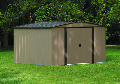 Arrow Shed, 10 x 10 ft. Steel Storage Garden Shed Coffee & Taupe