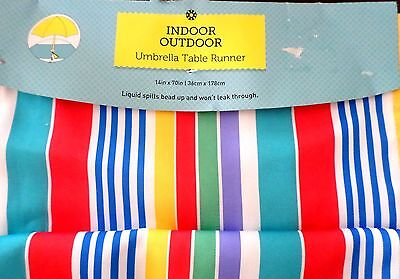 NEW INDOOR/OUTDOOR RED BLUE YELLOW WHITE GREEN STRIPED UMBRELLA TABLE RUNNER  - Blue And White Striped Table Runner