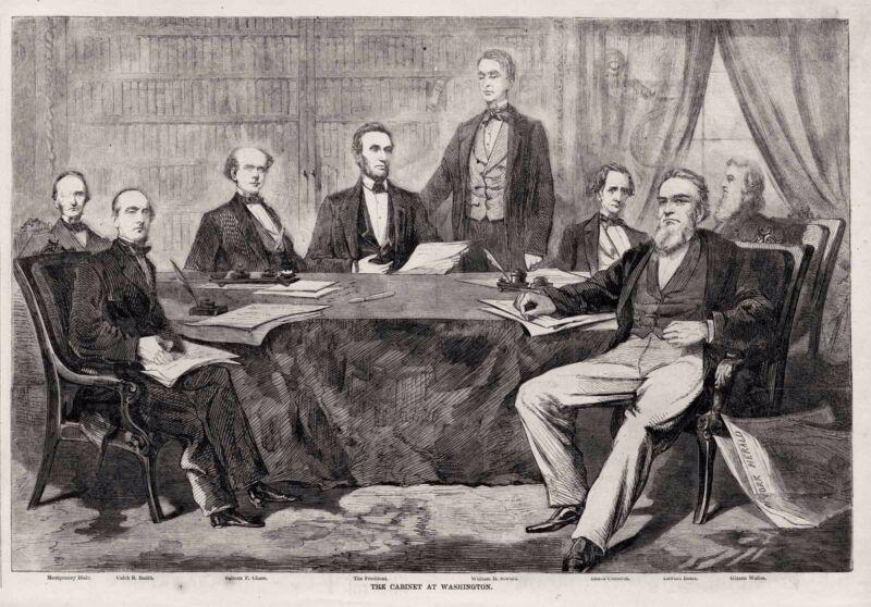 Civil War President Abraham Lincoln 1861 Washington Cabinet Group Portrait Print