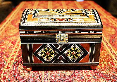 Holz Mosaik Schmuckschatulle Truhe Kasten,Kunsthandwerk aus Damaskunst K 4-3-43