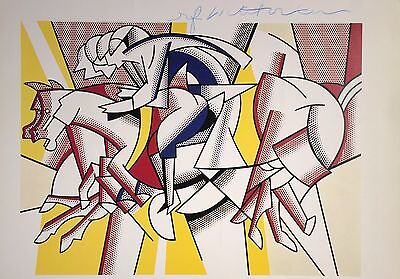 ROY LICHTENSTEIN HAND SIGNED SIGNATURE * RED HORSEMAN * COLORPLATE  W/ C.O.A.