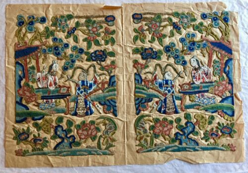 2 Rare Antique Chinese Forbidden Silk Stitch Wedding Lover Embroidery Panels