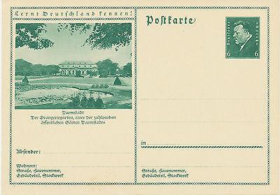 DT.REICH Friedrich Ebert 6 Pf 1932 Bildpost-GA DARMSTADT – der Orangeriegarten