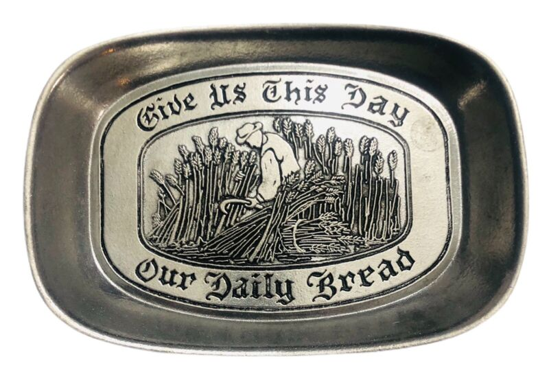 """Country Ware Wilton Armetale """"Give Us This Day Our Daily Bread"""" Tray Dish Plate"""