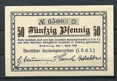 Hamburg  50 pfennig  Notgeld Deutschen Guttempierorden