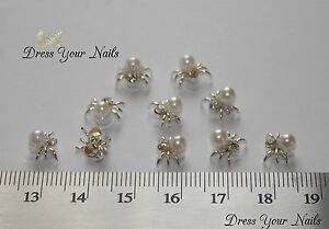 Spider-3d-Pearl-Metal-Nail-Art-DIY-Craft-Halloween-Silver-M7-074-uk