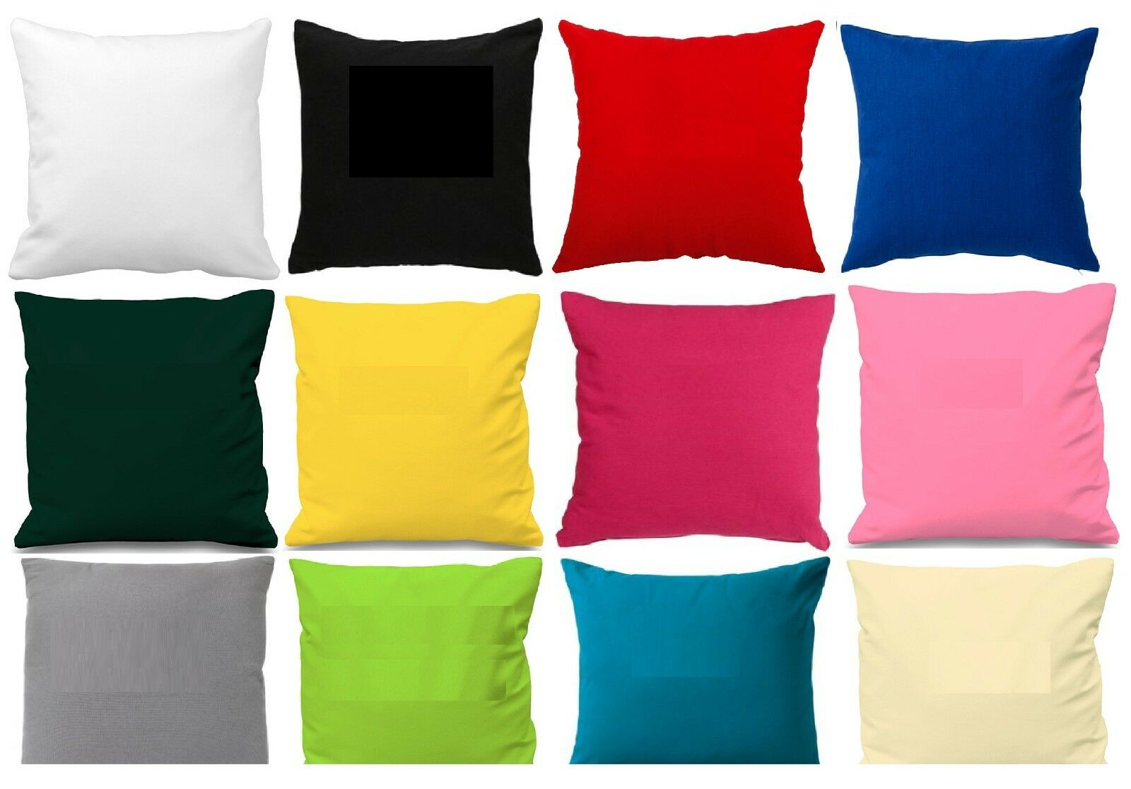 """Home Decoration - Plain Poly Cotton Cushion Cover 10"""" to 24"""" Sizes Available 30 colours"""
