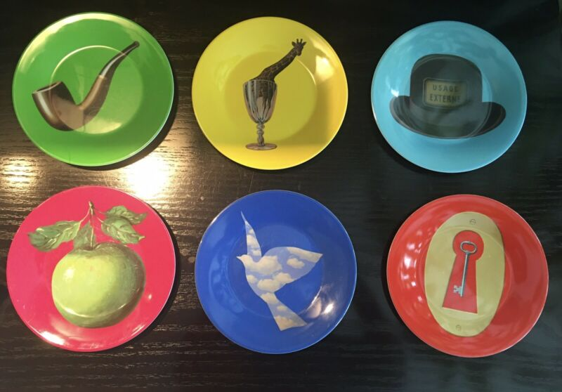 MELAMINE PLATES ART BY SURREALIST RENE MAGRITTE - SET OF 6 - RARE - GENTLY USED