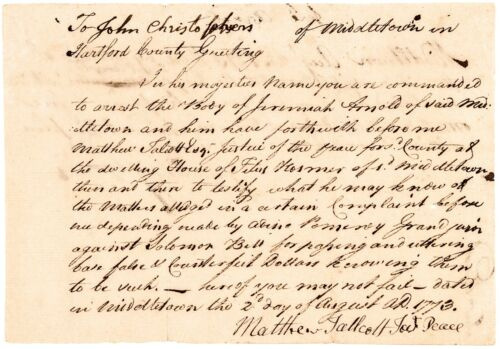 Colonial Currency, CT, 1773 Arrest Warrant For Counterfeiting Dollars !