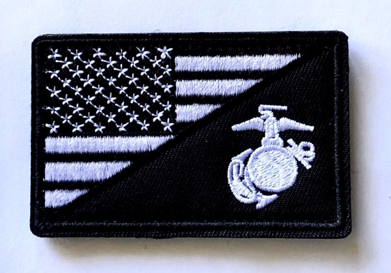 USA FLAG MARINE CORPS USMC TACTICAL HOOK AND LOOP PATCH WHITE BLACK