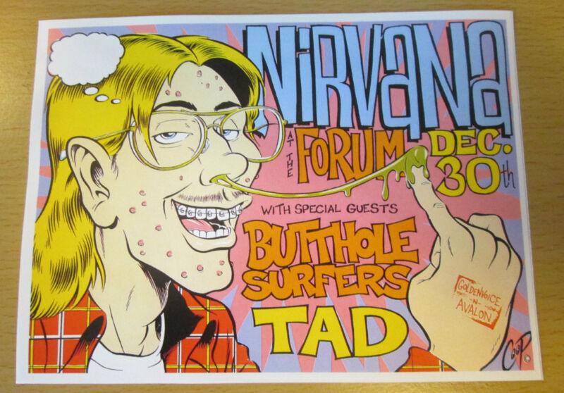 1993 NIRVANA LOS ANGELES CONCERT REPRO HANDBILL KURT COBAIN DAVE GROHL FLYER