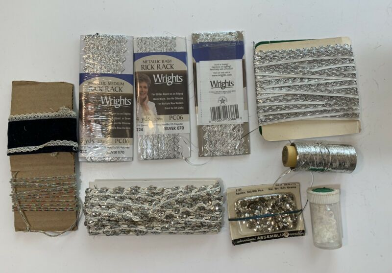 VINTAGE Silver  Color Trim Pieces Deco for Clothing  & Sequins ~ Arts & Crafts