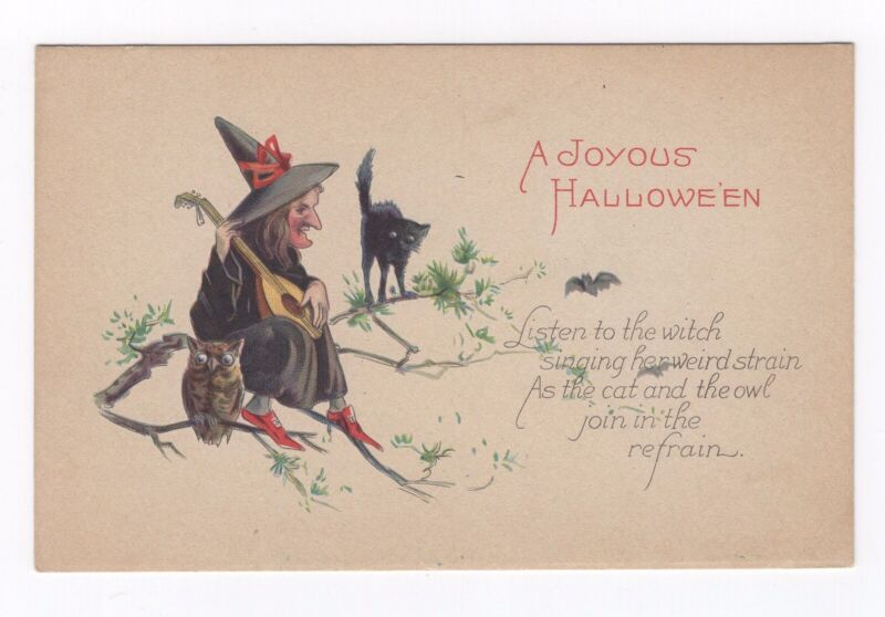 Joyous Halloween Vintage Postcard Musical Witch Singing with Owl Cat Bat