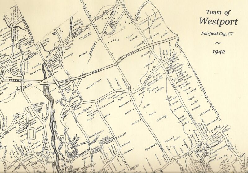 Westport Saugatuck Greens Farms CT 1942  Map with Homeowners Names Shown