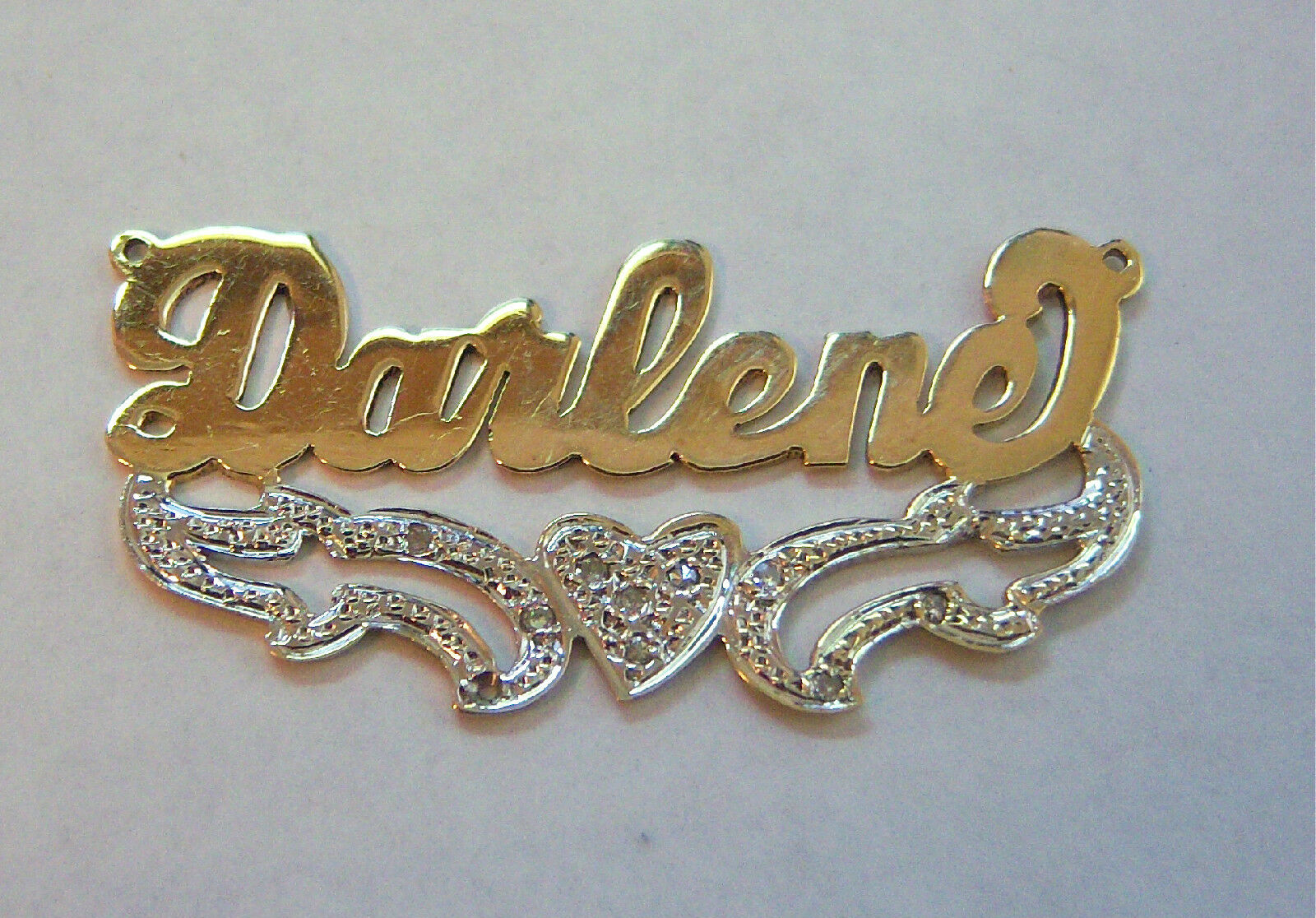 14k Darlene Name Plate Solid Yellow Gold And Genuine Diamond