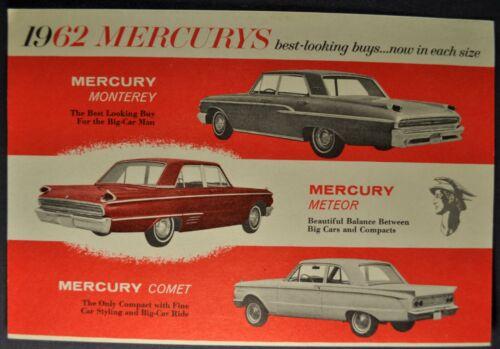 1962 Mercury Sales Brochure Card Monterey Meteor Comet Excellent Original 62