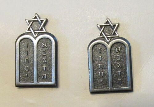 US Army Jewish Chaplain officer collar insignia Matched pair on card clutchback