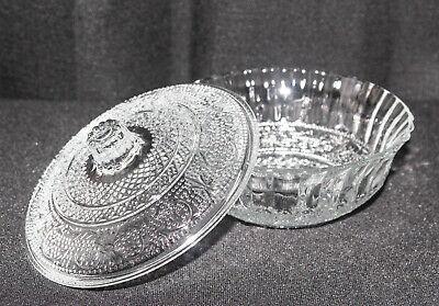 Vintage KIG Malaysia Clear Glass Candy Dish Fleur de Lis Trellis Diamond Dot