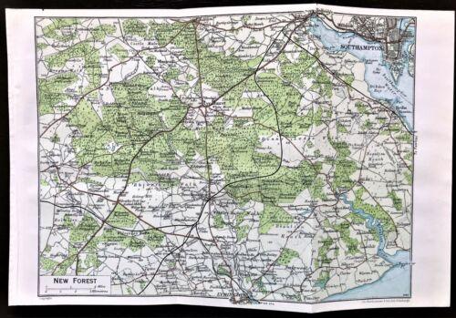 Rare Antique Color Map : NEW FOREST, ENGLAND : 100% AUTHENTIC  ORIGINAL 1930