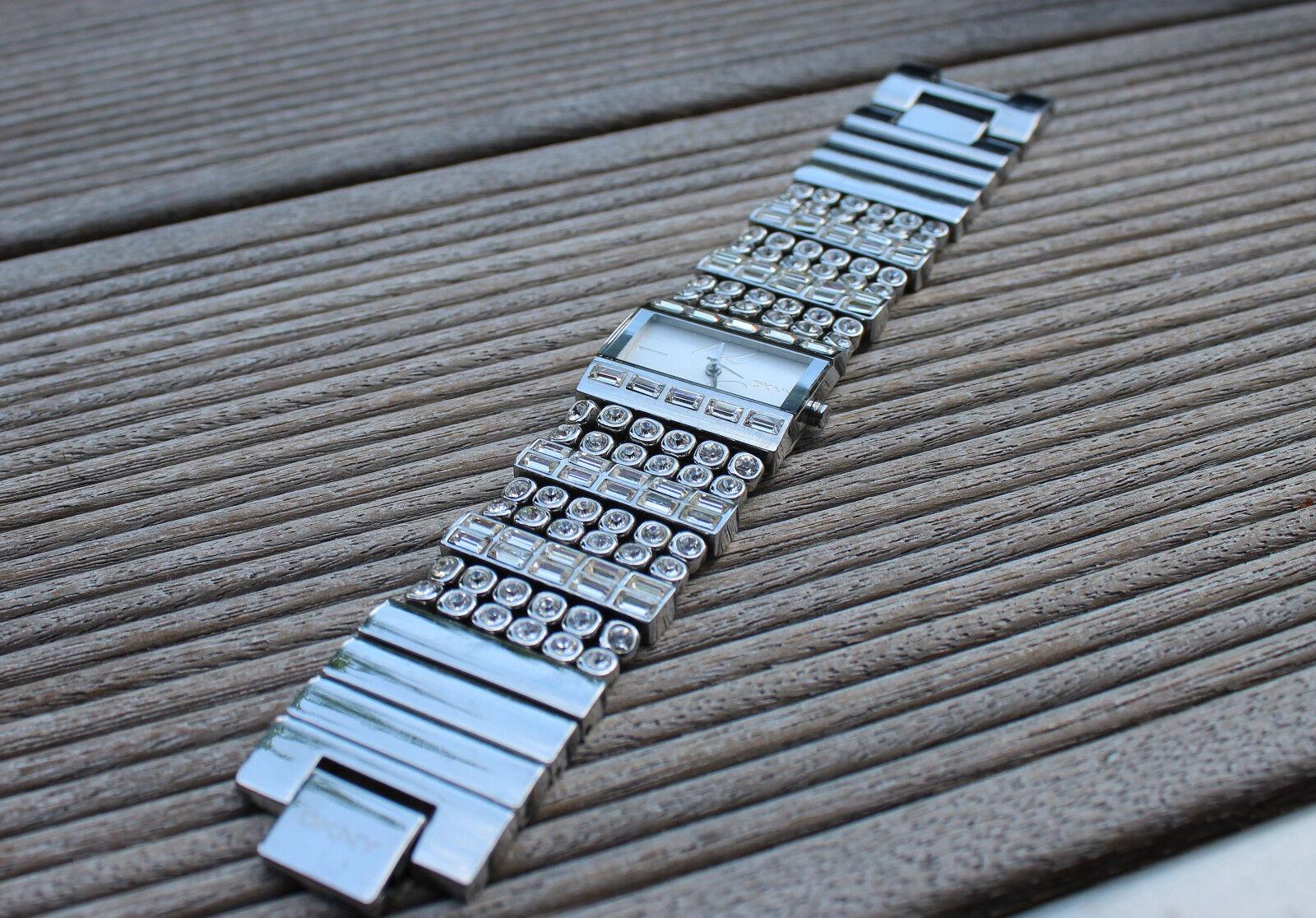 DKNY Uhr Damen silber eckig Strass Glitzer Accessoires Schmuck Neuwertig