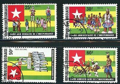 Togo Sc 907-8, C248-9 15th Anniv. Independence, Stilt Walking, Togolese Flag
