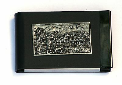Shooting Plaque Design Black Pu And Metal Business Or Credit Card Holder 331