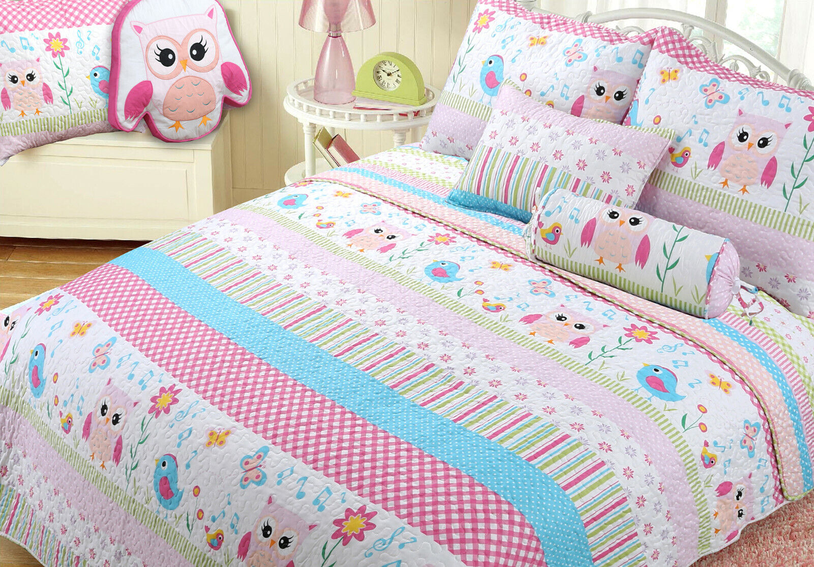 Home Sweet Pink Owl Print Pattern Reversible Quilt Set, Beds
