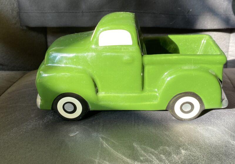 Vtg Ceramic Porcelain Pickup Truck Planter -