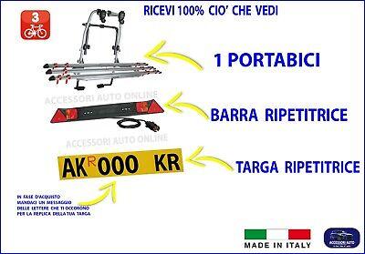 Portabici Posteriore per FIAT 500L Living 2013> kit 3 biciclette Replica Targa