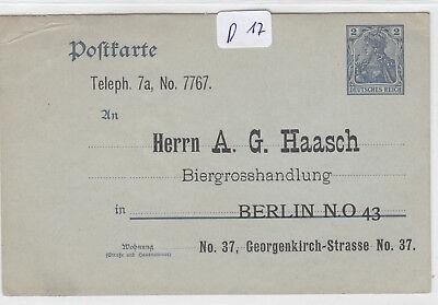 D17, Privat Ganzsache Biergrosshandlung Haasch Berlin !