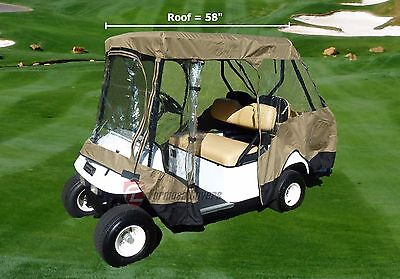"4 Seater Driving Enclosure with 2 Seater (up to 58"" L) Roof Top Golf Cart Cover"