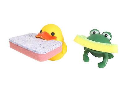 Animal Shape Novelty Kitchen Sponge Holder and Sponge Choice of Frog or Duck