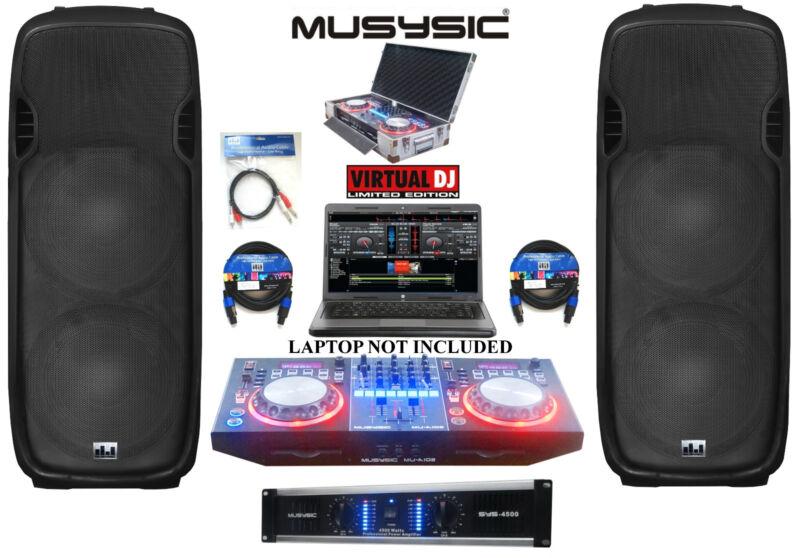 """Professional DJ System 4500W Amp DJ MIDI Controller CD USB 2x Dual 15"""" Speakers"""