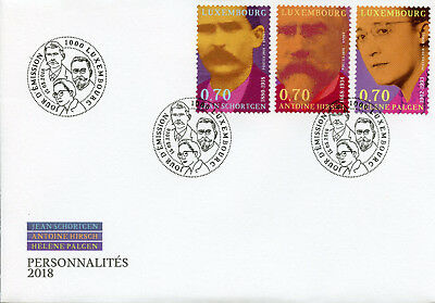 Luxembourg 2018 FDC Personalities Antoine Hirsch Helene Palgen 3v Cover Stamps