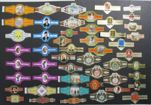 Collectible CIGAR BANDS over 50 mixed Willem II mickey mouse and others [005]