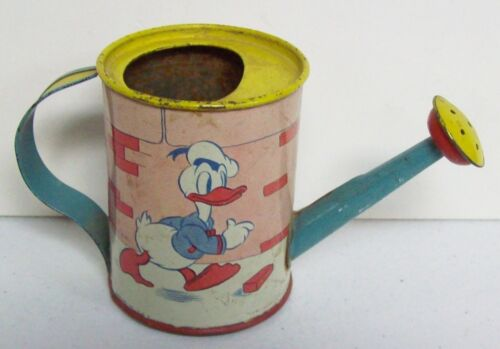 RARE Vintage Sm Tin Litho Toy Watering Can - OHIO ART - Disney DONALD DUCK 1938