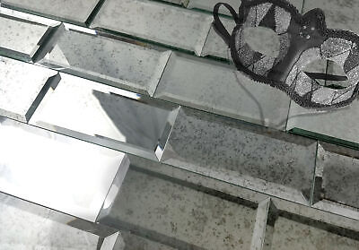 Abolos Reflections 3 in. x 6 in. Mirror Subway Tile in ANTIQUE SILVER Glossy](Mirrored Tile)