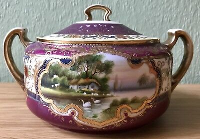 ANTIQUE EARLY NORITAKE TWIN HANDLED LIDDED BOWL. WEAR TO GILDING. VGC