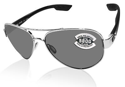Costa Del Mar South Point Palladium Silver Frame Gray 580 Glass Polarized (Costa South Point)