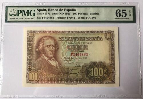 PMG 65 Spain 1948-1950 Banknote 100 Pesetas EPQ