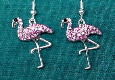 PINK FLAMINGO RHINESTONE EARRINGS*JEWELRY GIFT BAG, EARRING CARD*TROPICAL BIRD* ()