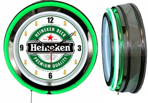 "Heineken Beer 19"" Green Double Neon Clock Chrome Finish Man Cave Bar Garage Mugs"