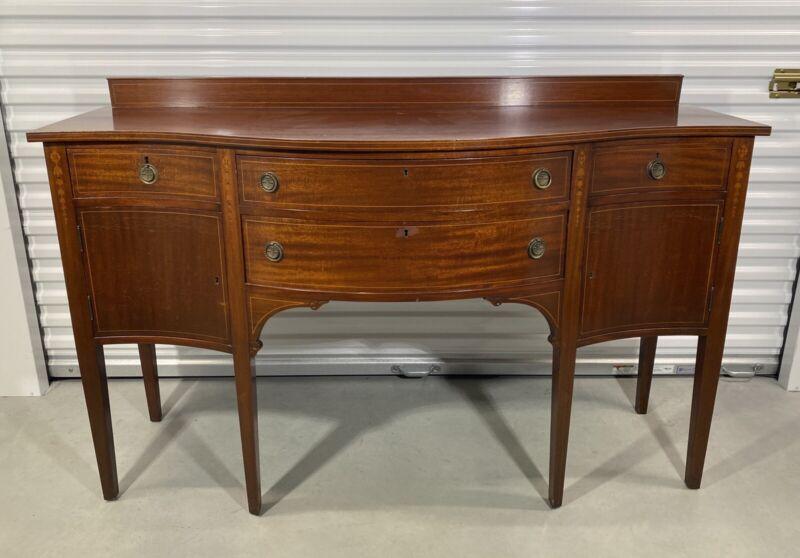 """Antique Hepplewhite Style Mahogany Sideboard Buffett """"GORGEOUS"""" With Key"""