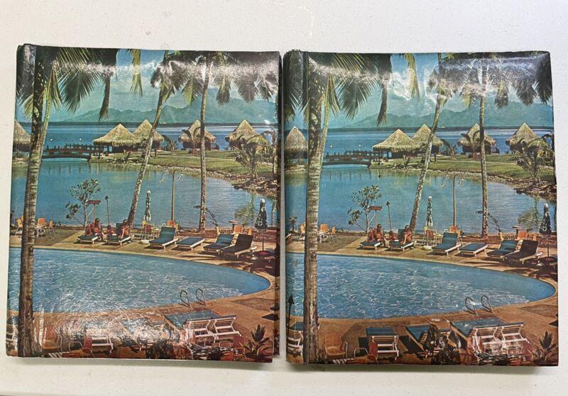 Lot 2 1960s VTG Self Adhesive Magnetic Photo Album  Hawaii Scrapbook Photo Album