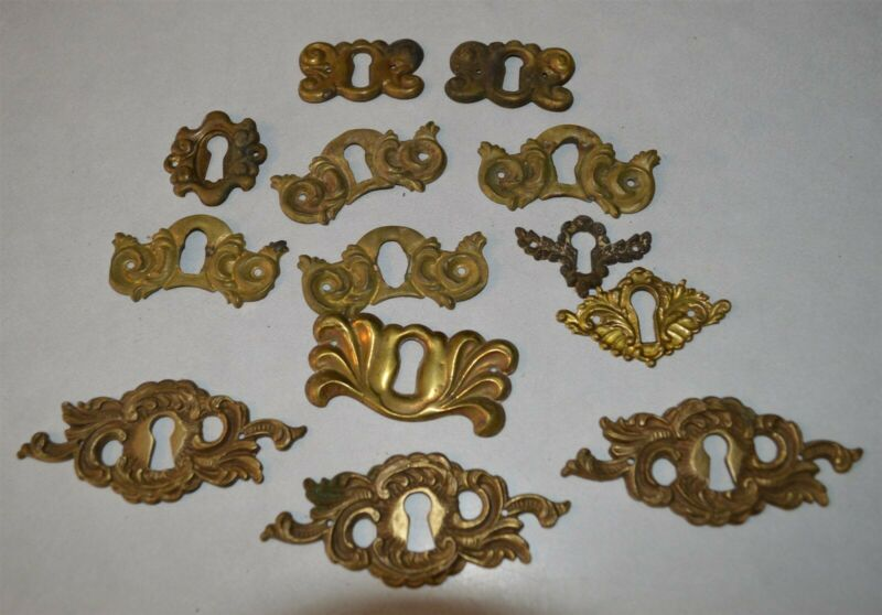 13 Ornate Brass Antique Furniture key hole covers