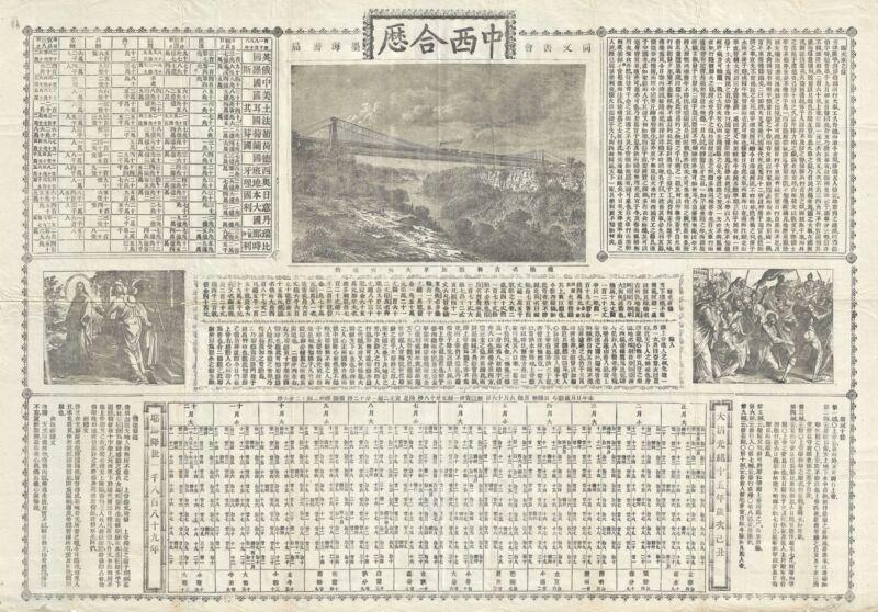 1889 Tongwen Shu Shanghai-Chinese Missionary Calendar Broadside