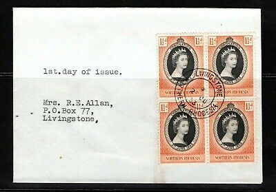 1953 Northern Rhodesia QEII Coronation block of 4 on FDC