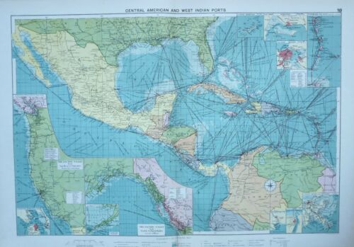 1920 LARGE MERCANTILE MARINE MAP CENTRAL AMERICAN & WEST INDIAN PORTS KINGSTON